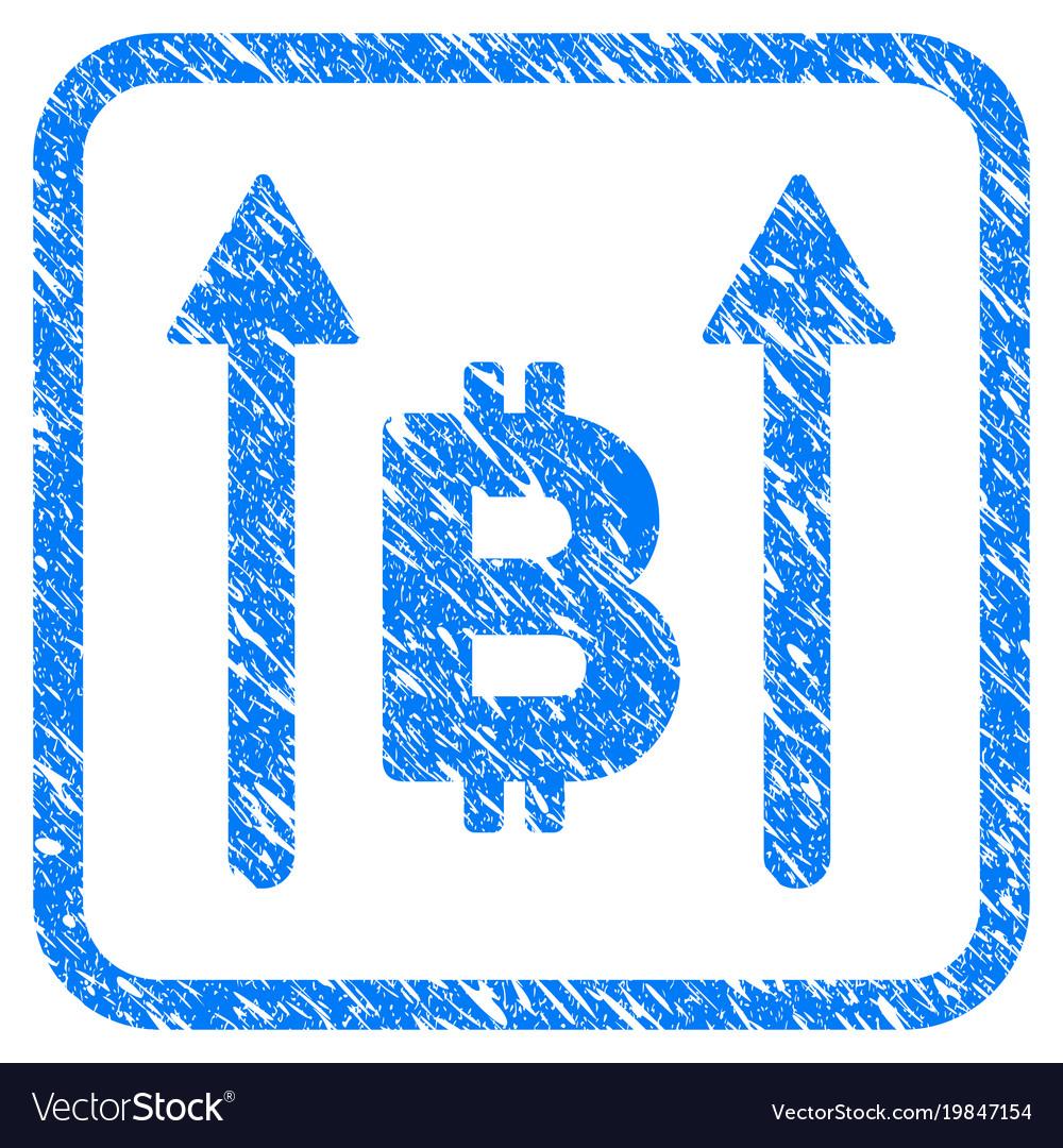 Bitcoin send arrows framed stamp