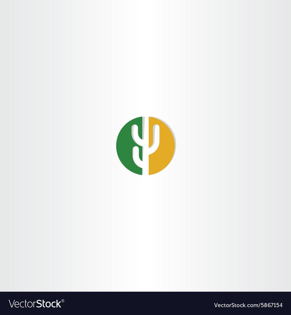 Cactus circle desert icon logo vector image