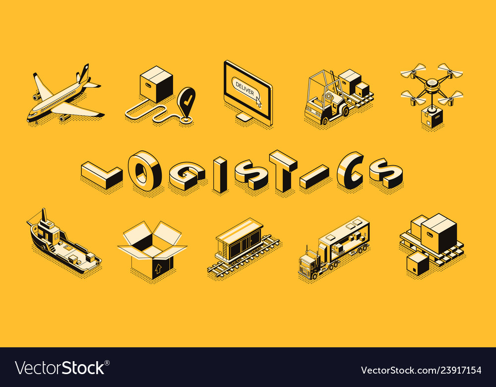 Delivery company transport isometric set