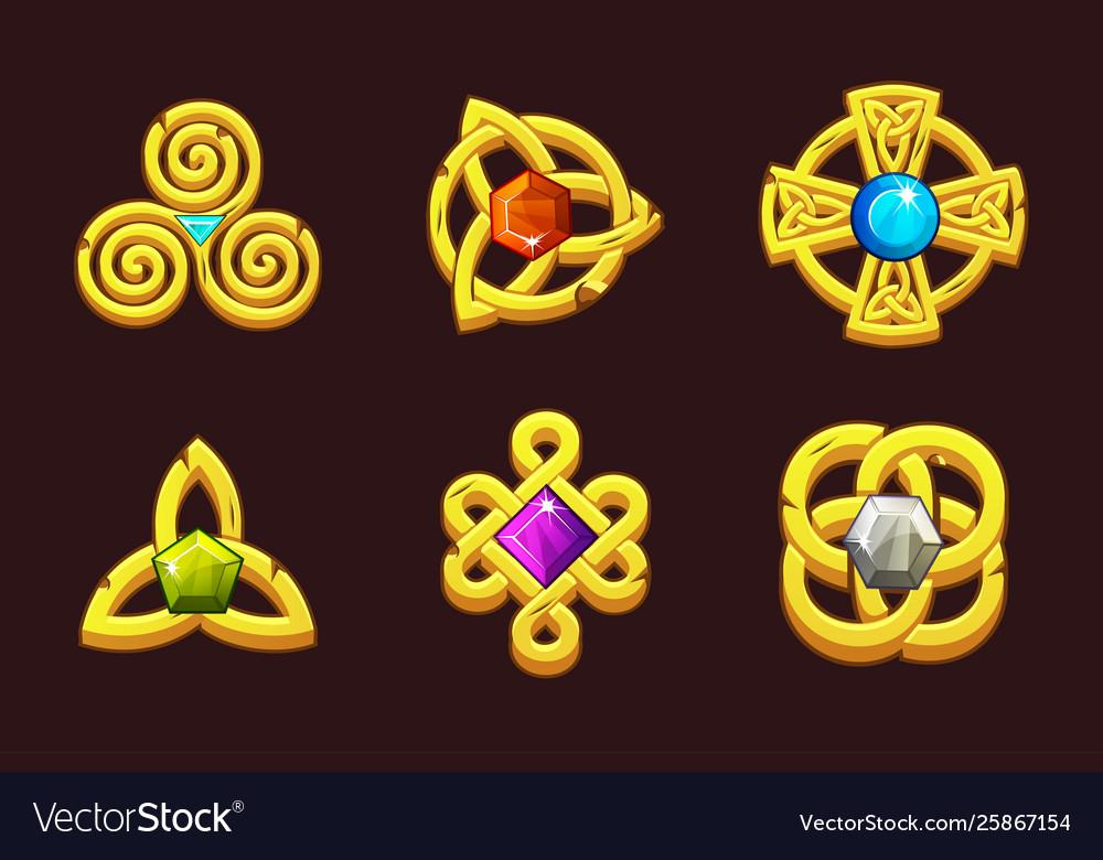 Golden celtic symbols with gems cartoon set