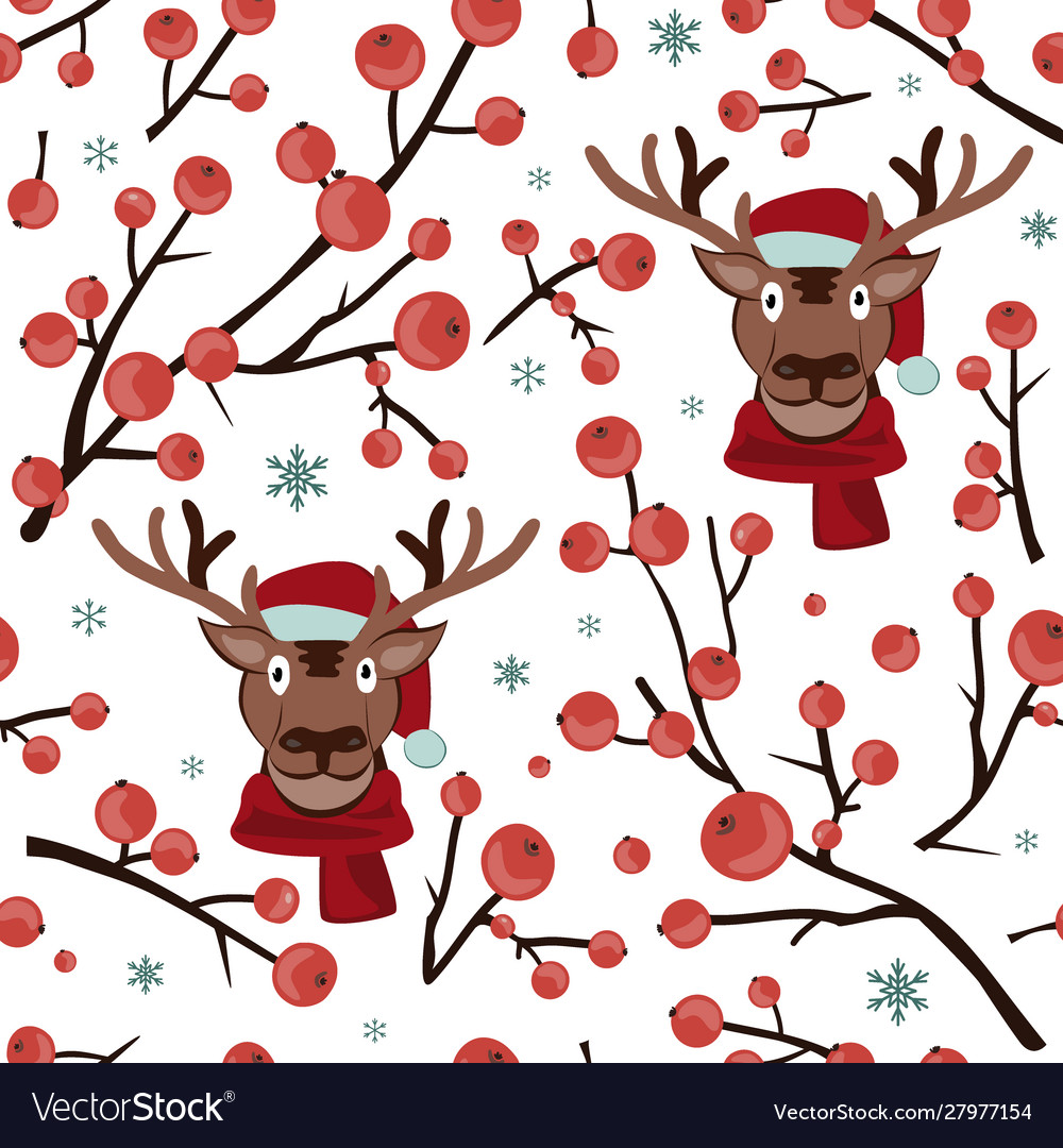 Seamless christmas hawthorn pattern with deer face