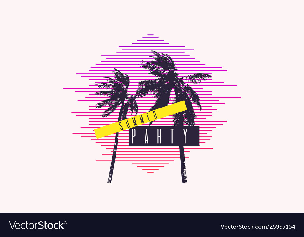 Summer party modern poster with palm tree