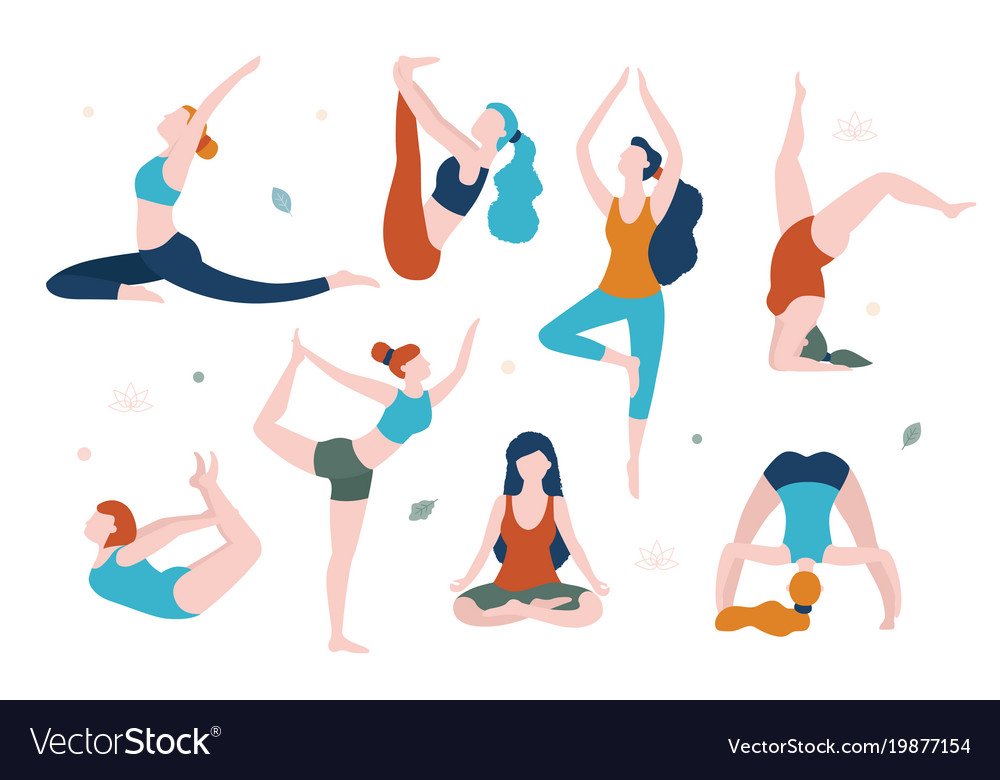 Women doing yoga in different poses flat