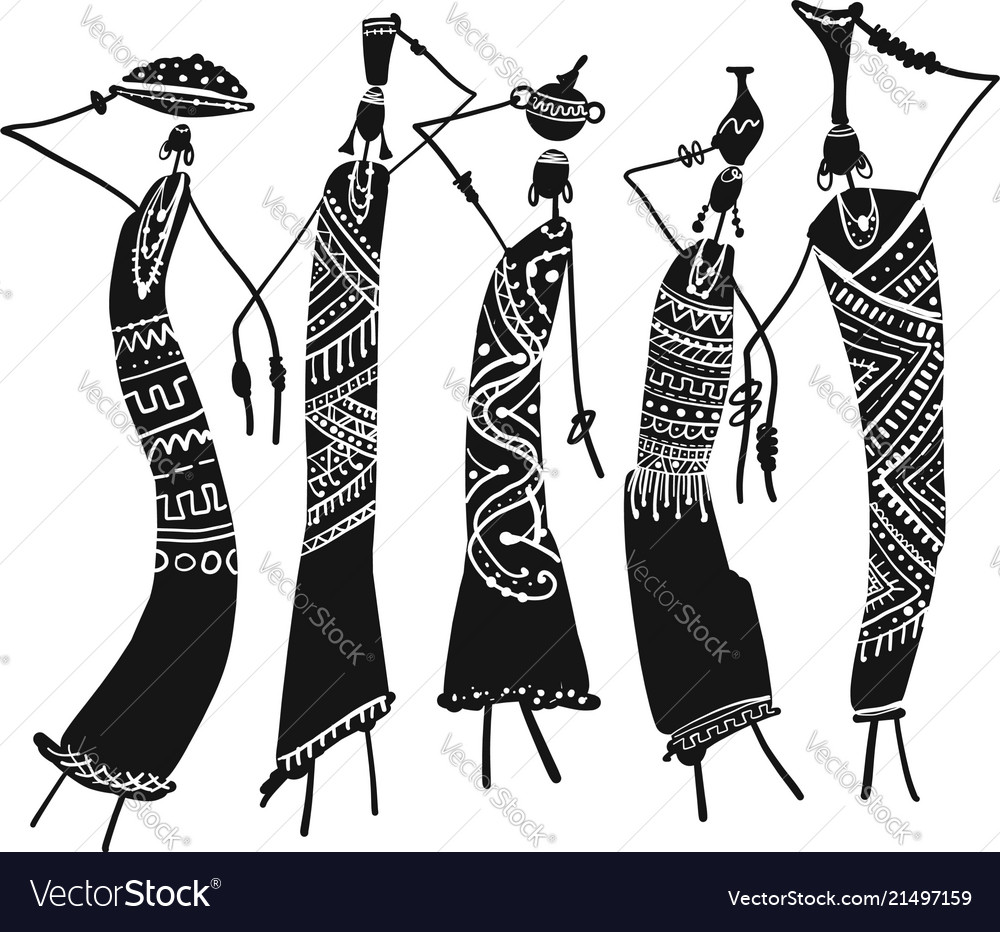 African women with jugs ornate sketch for your