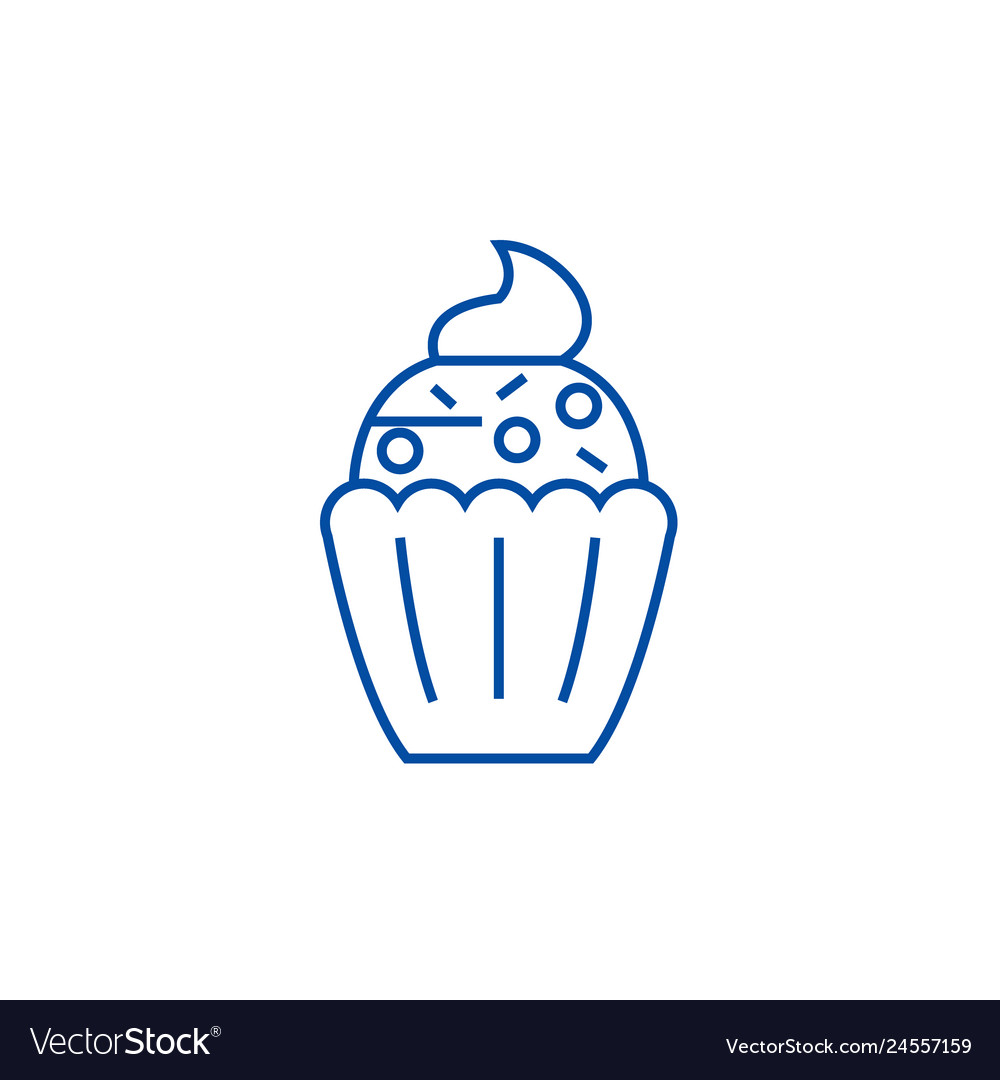 Cupcake Line Icon Concept Cupcake Flat