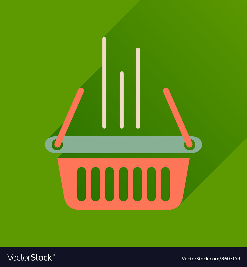 Flat icon with long shadow shopping basket vector image