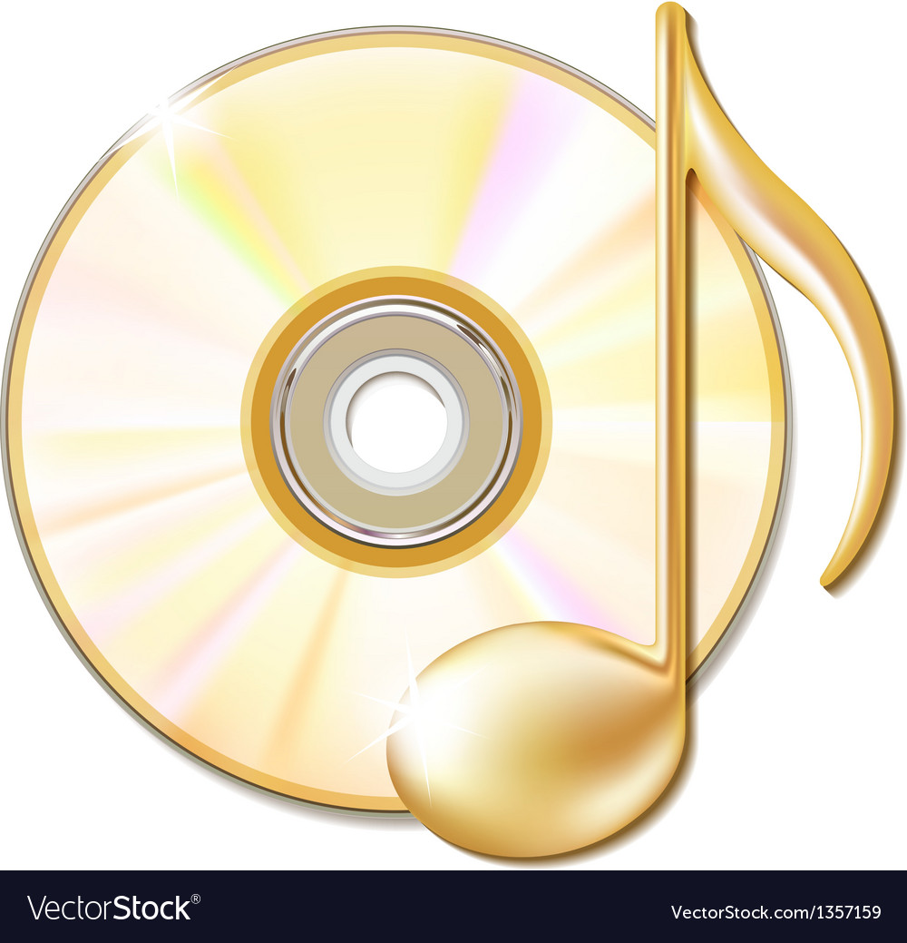 Gold musical note and cd disk vector image