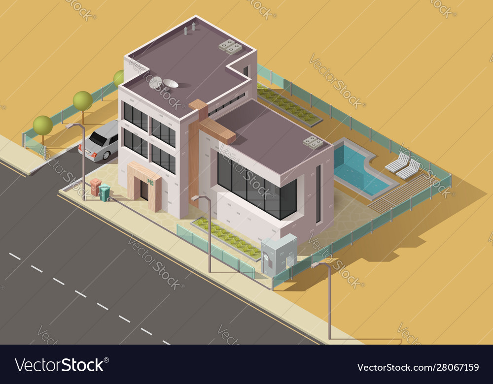 House building icon home with garden car pool