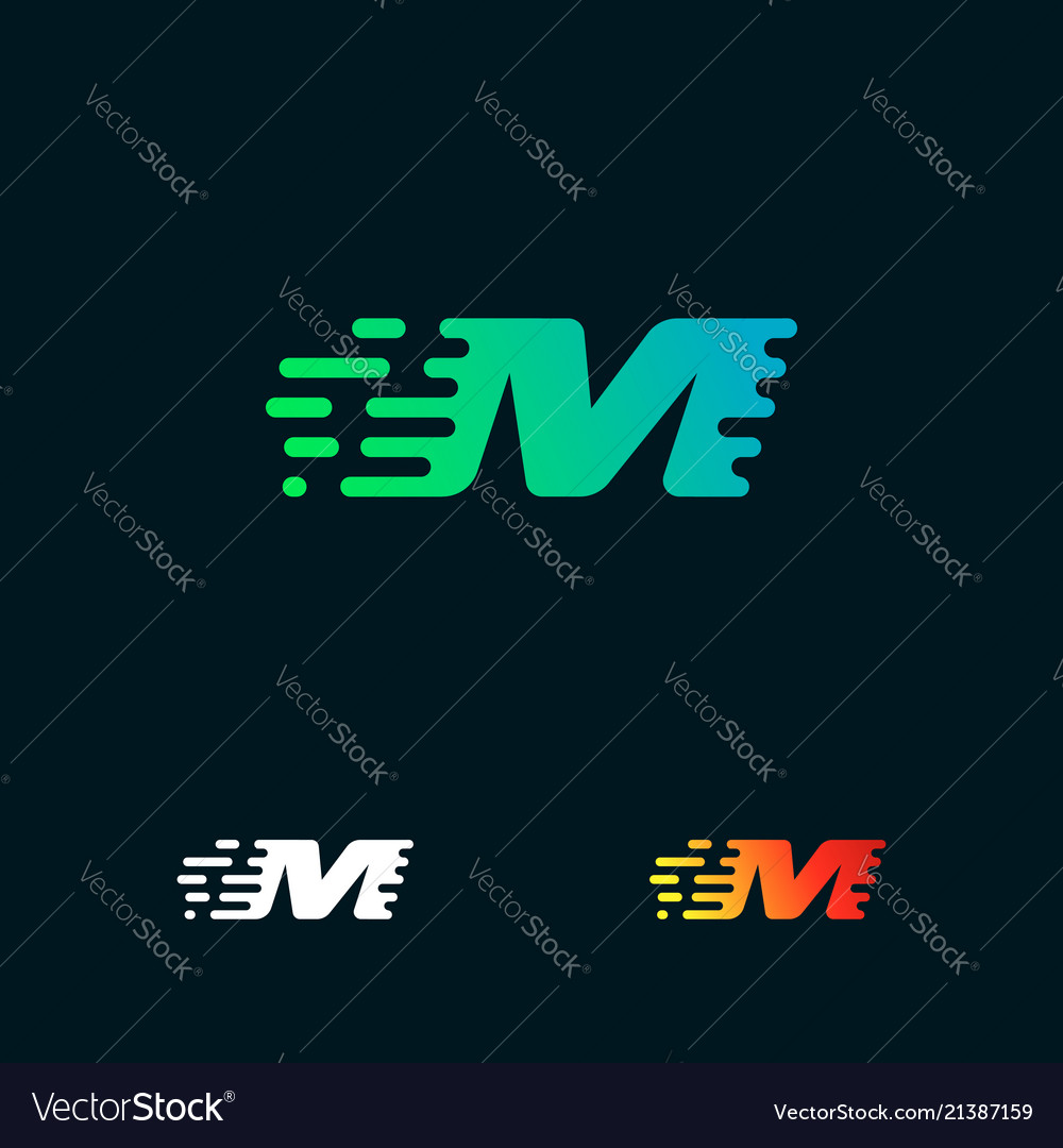 Letter m modern speed shapes logo design
