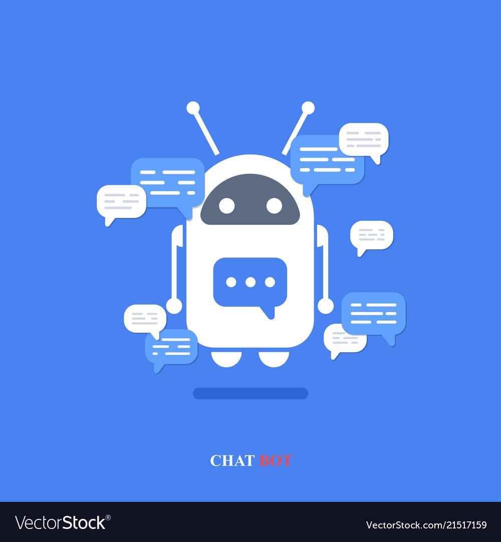Modern flat chat bot with speech bubble
