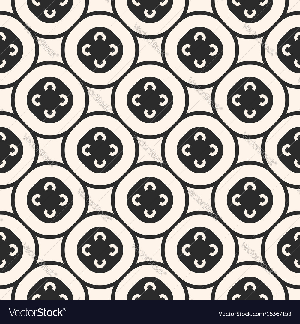 Monochrome seamless pattern floral tiling vector image
