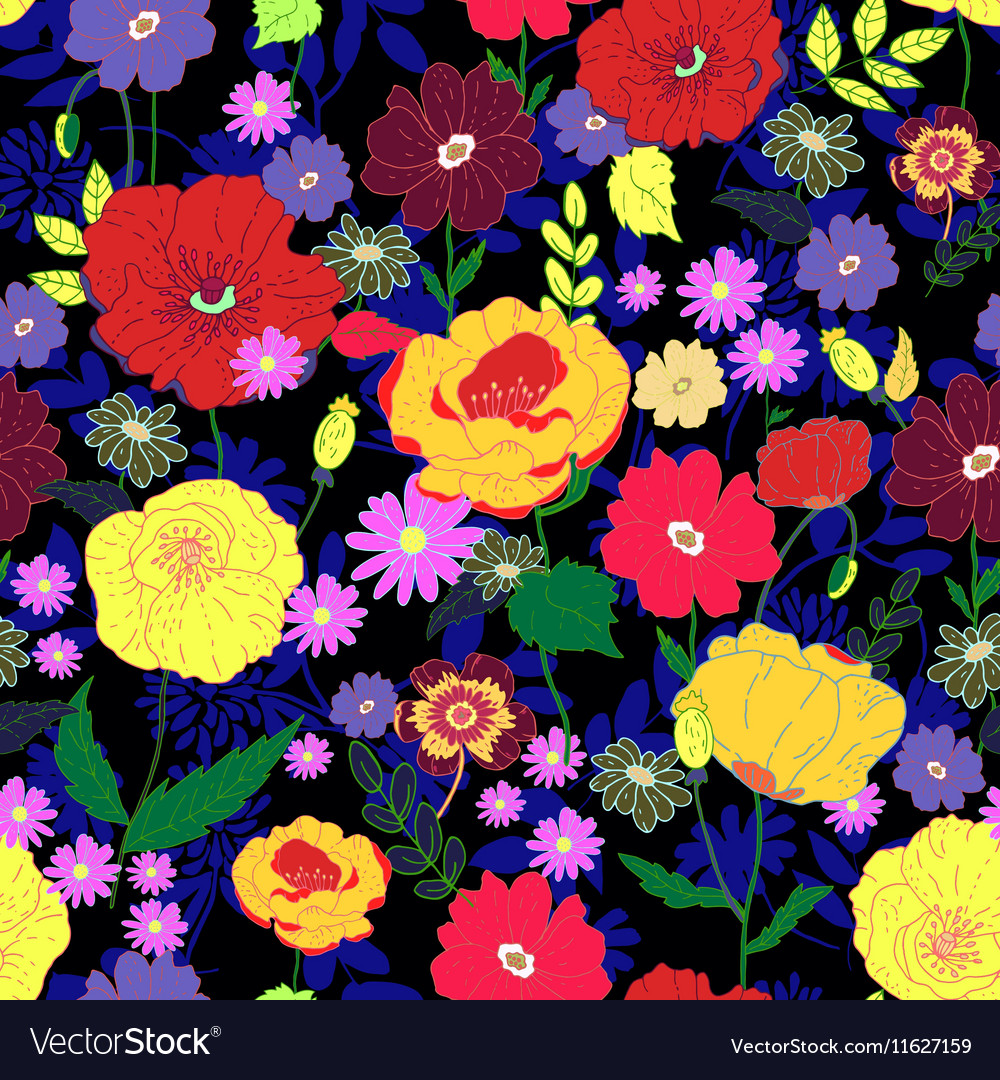 Seamless Floral Background Colorful Pattern Vector Image