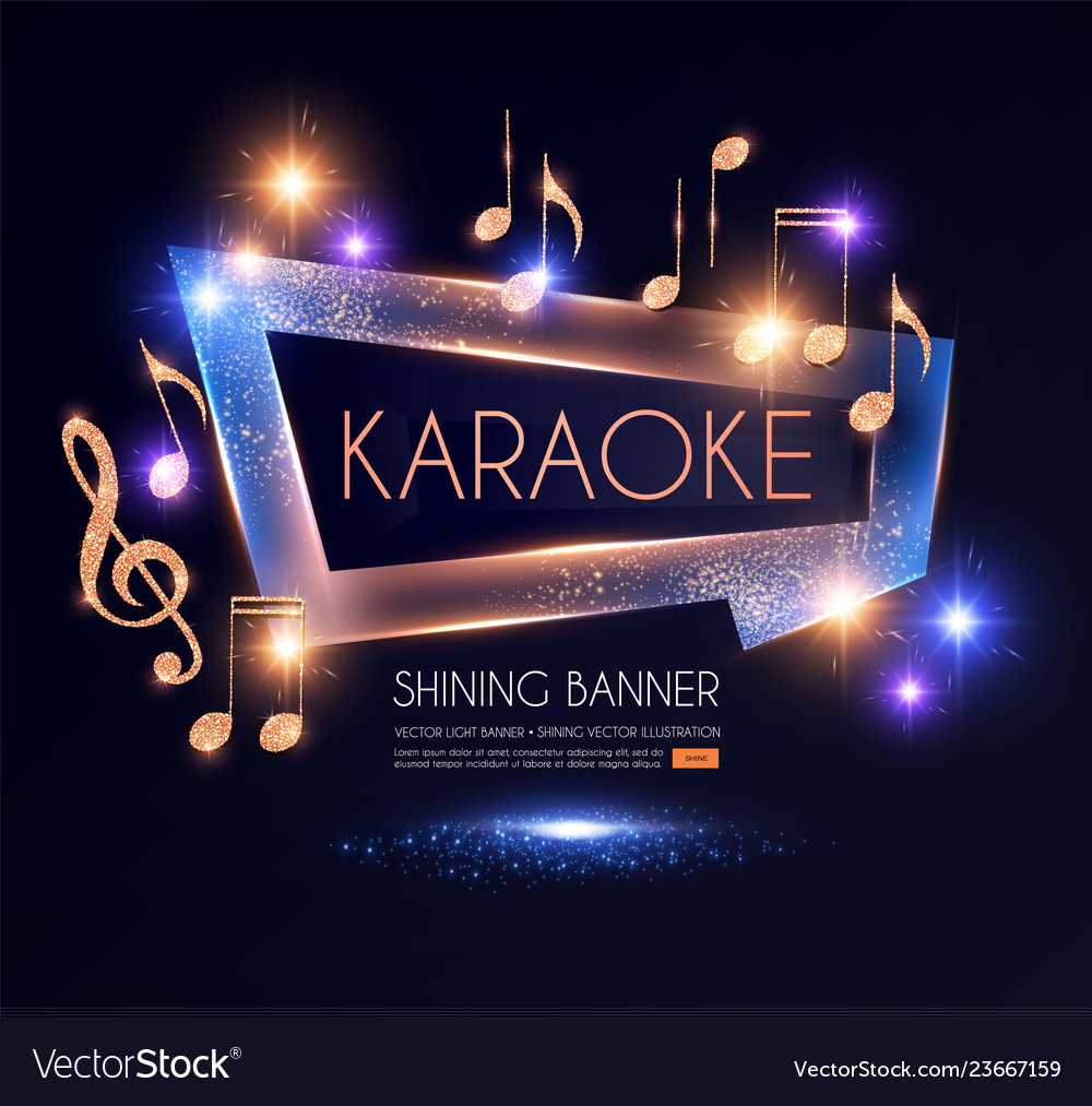 Shining karaoke party banner with golden notes
