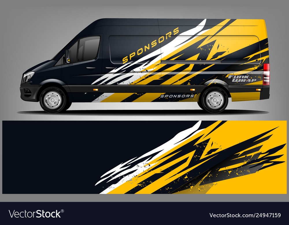 Van Car Wrap Design For Company Royalty Free Vector Image