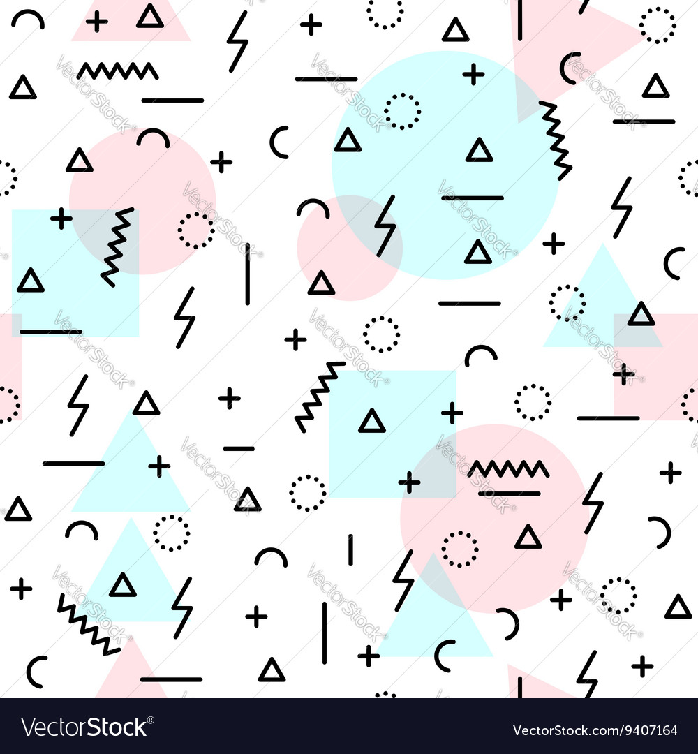 80s retro shapes seamless pattern in soft colors