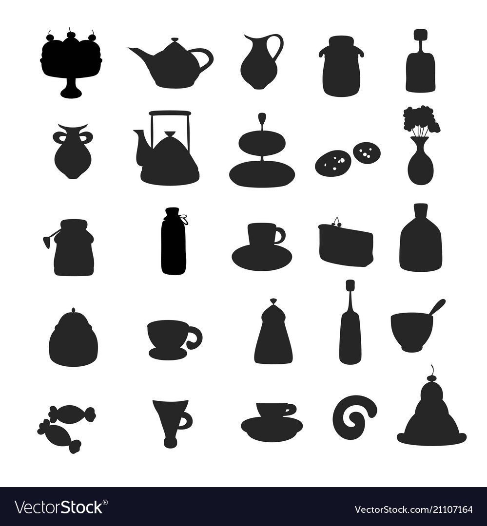 Black silhouette tea icons vector image