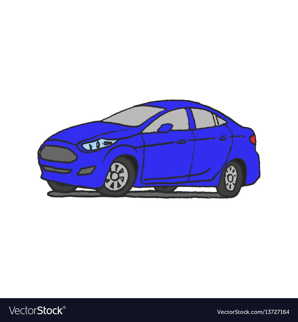 Blue car doodle