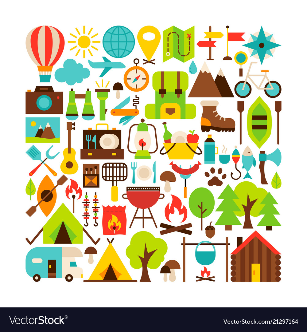 Camping isolated objects big set