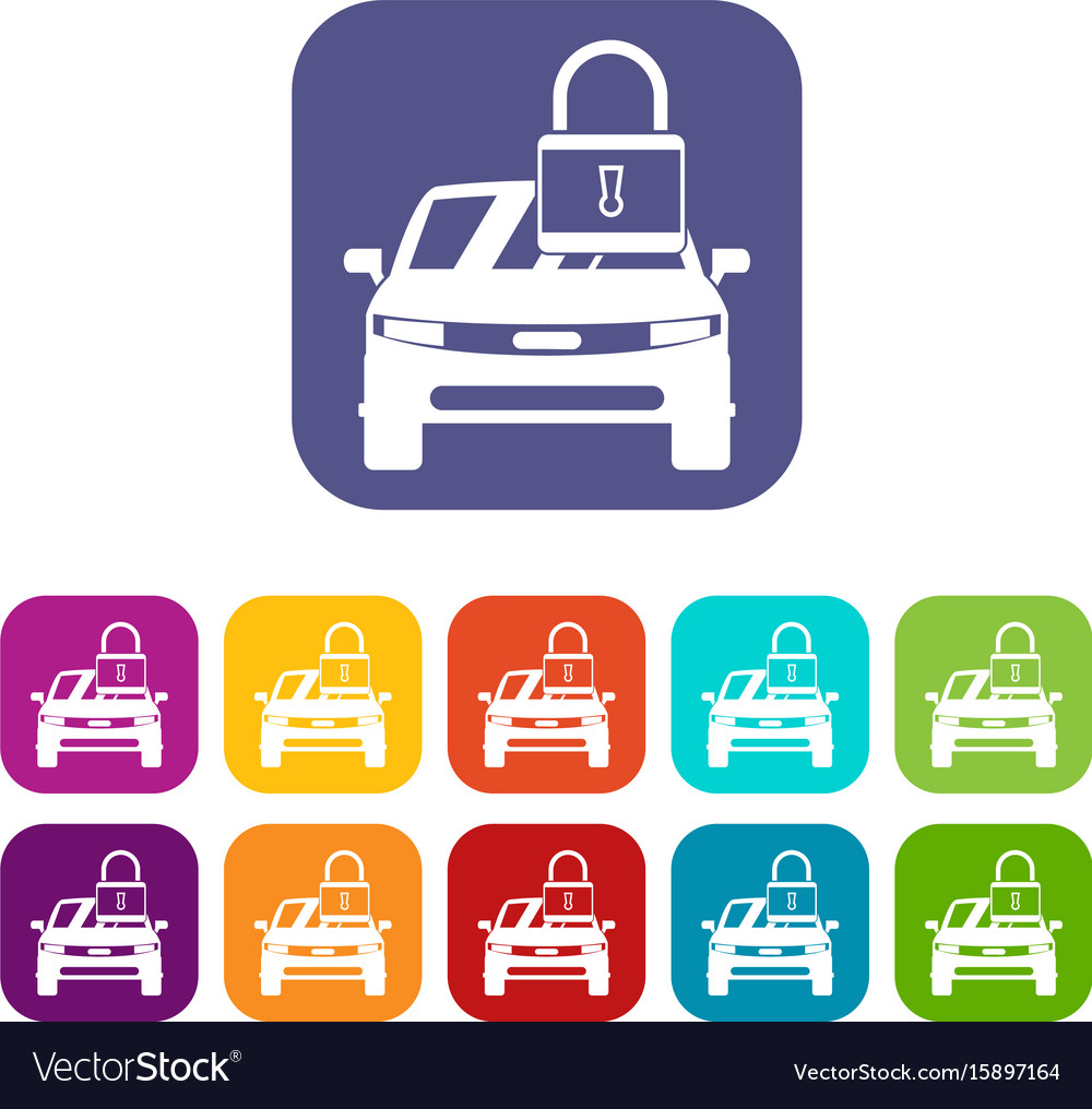 Car with padlock icons set vector image