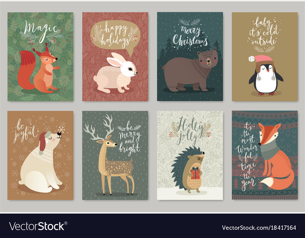 Christmas animals card set hand drawn style Vector Image