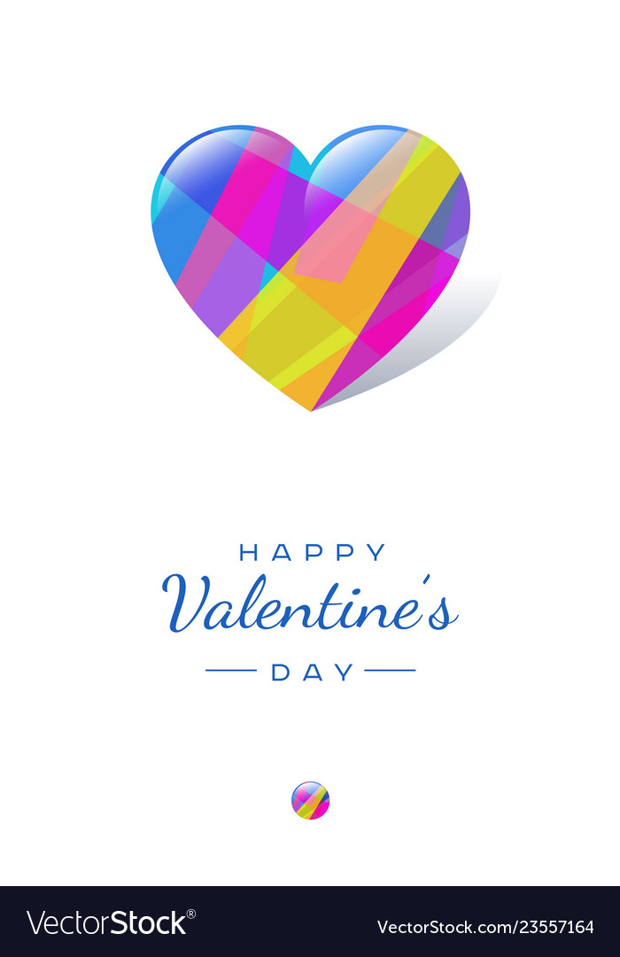 Color crystal glossy hearts valentines post card