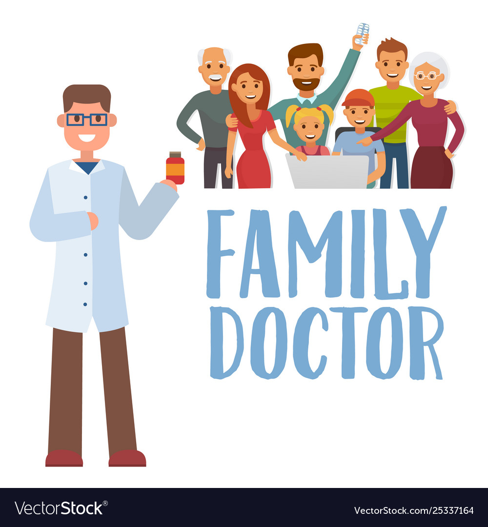 Family doctor concept with young practitione