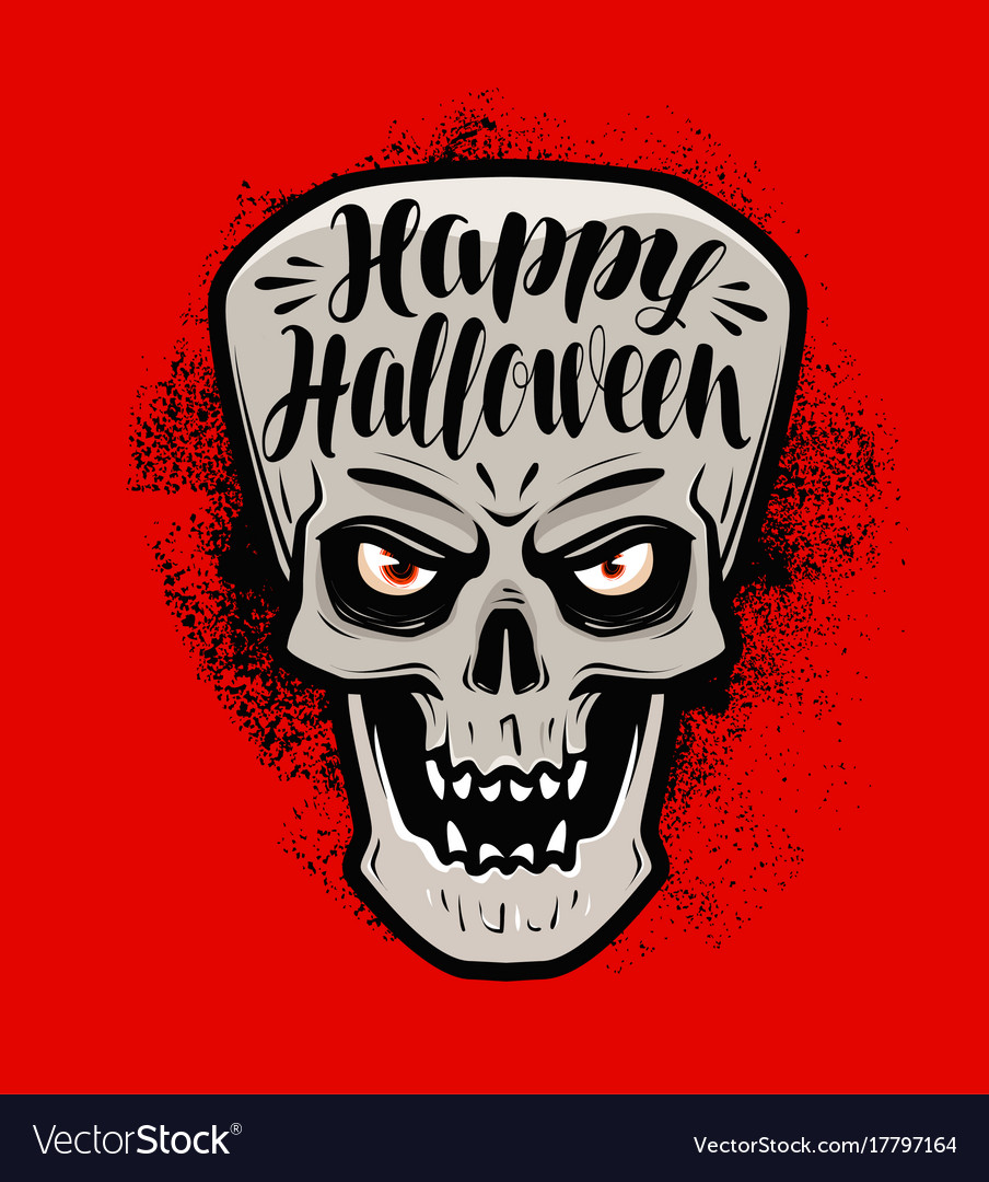Happy halloween greeting card scary skull or
