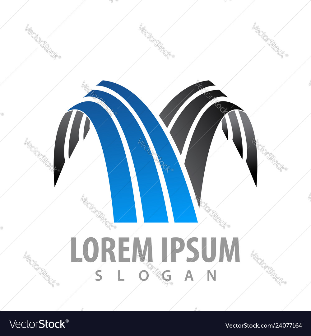 Line waterfall logo concept design symbol graphic