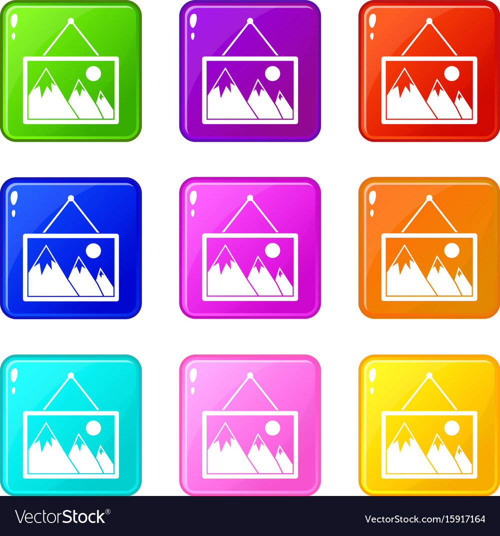 Painting with nature icons 9 set vector image