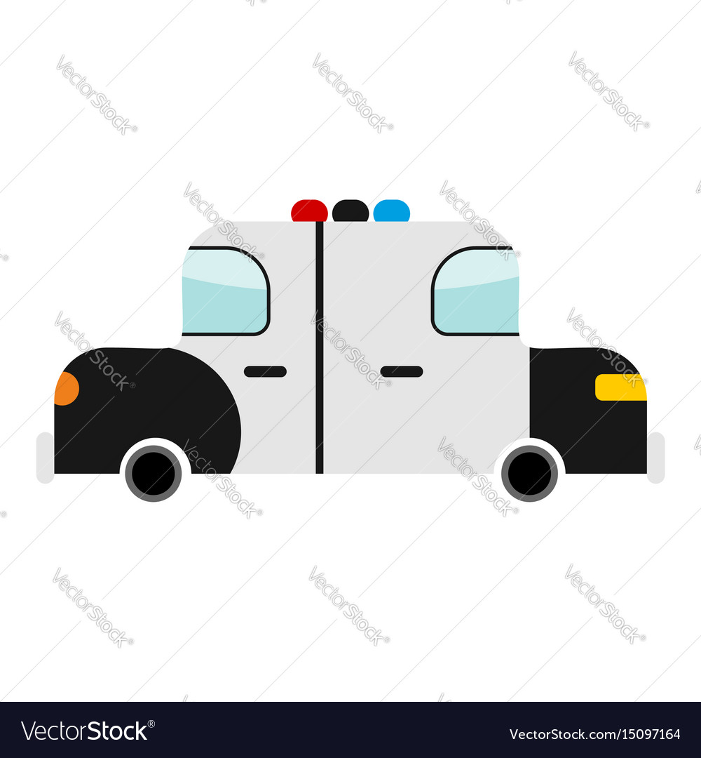 Police car cartoon style isolated transport on vector image