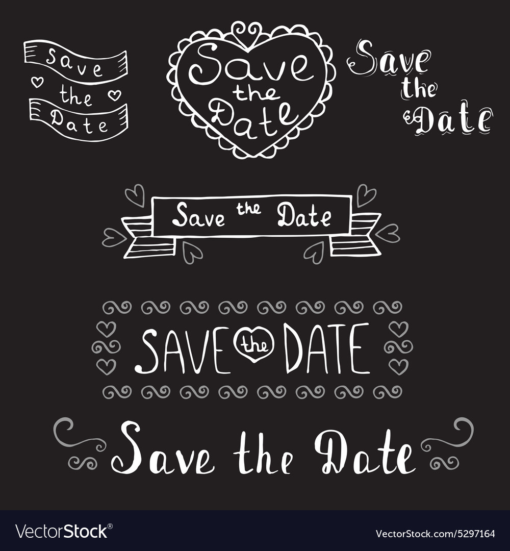 Save the date Wedding invitation Hand drawn