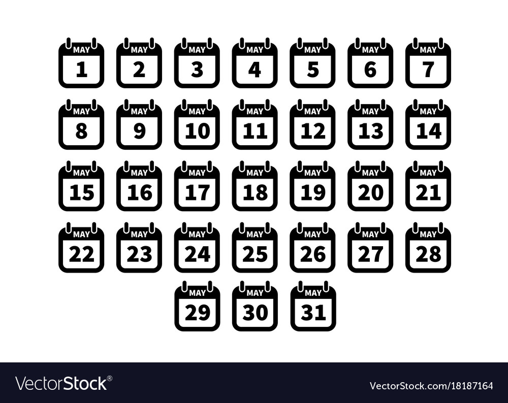 Set of simple black calendar icons on may isolated vector image