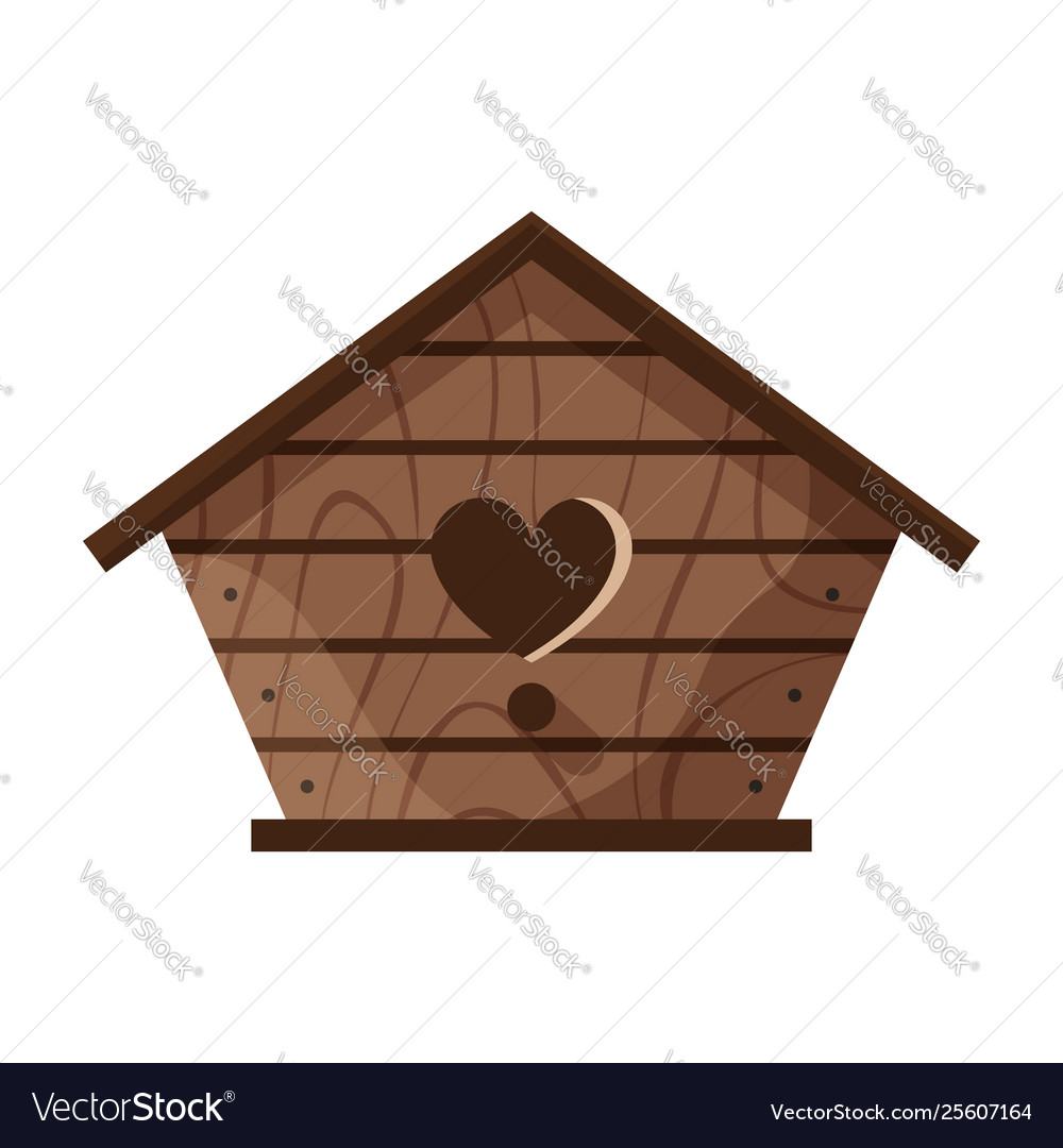 Wooden handmade bird house isolated on white