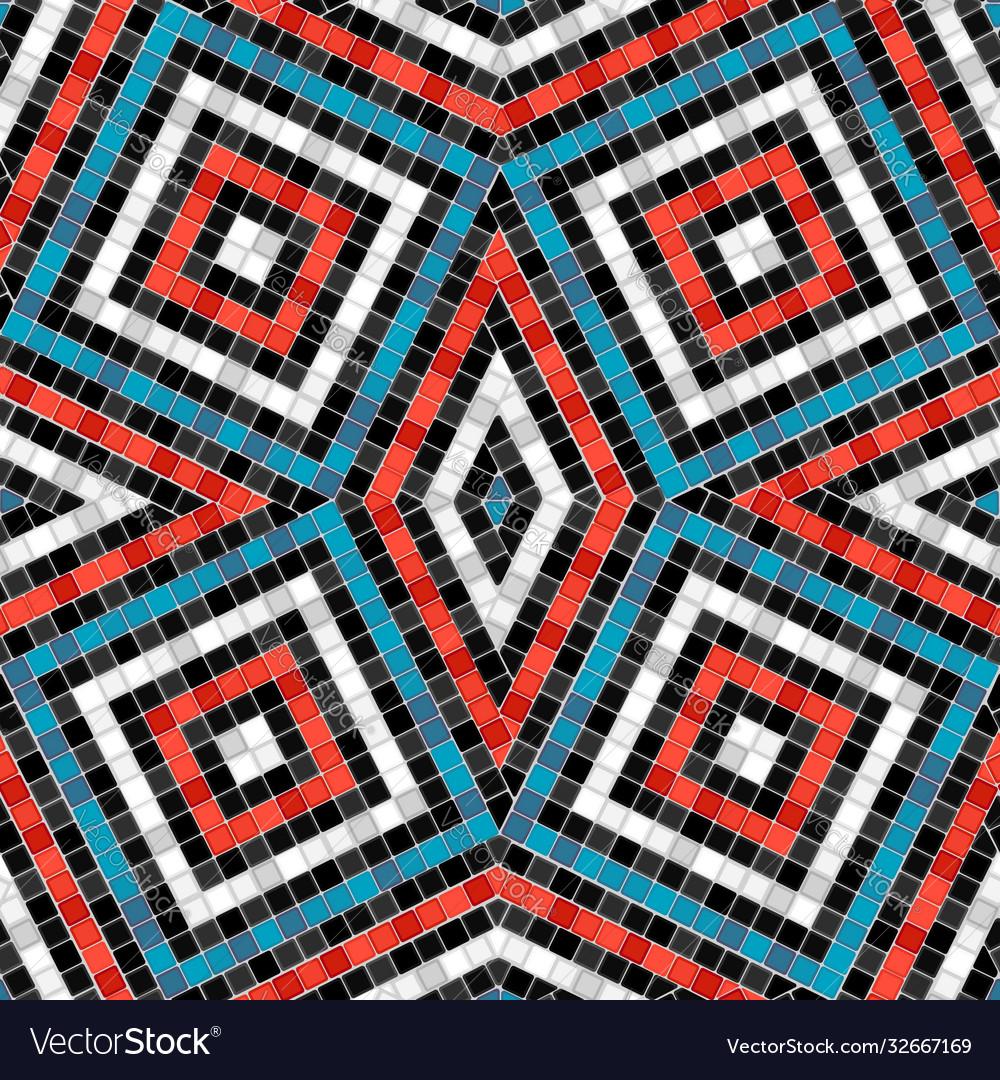 Antique tile rhombus pattern mosaic seamless