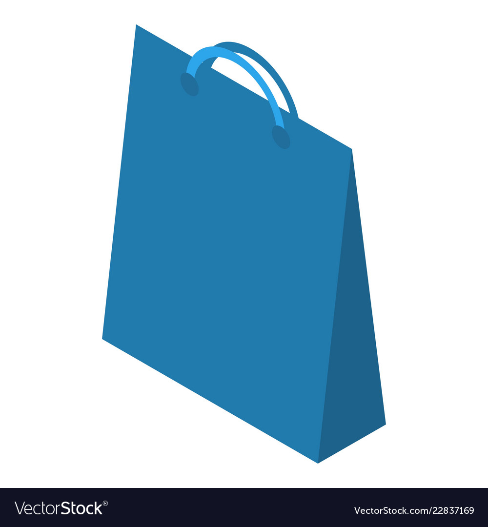 blue paper bag icon isometric style royalty free vector