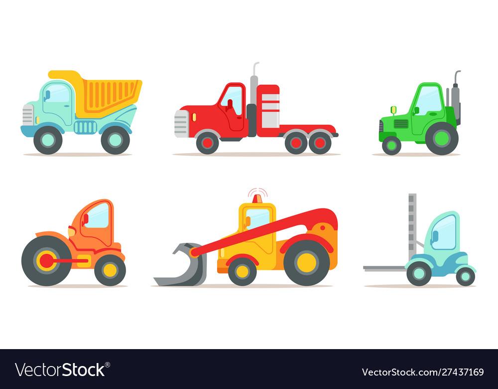 Construction vehicles set truck tractor