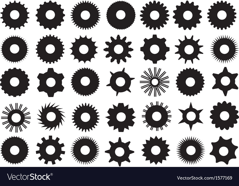 different gear shapes royalty free vector image