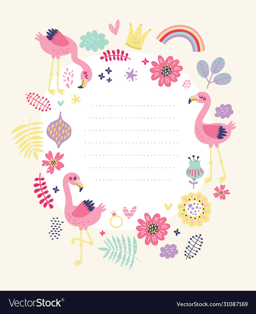 Floral card frame for text with cute flamingos