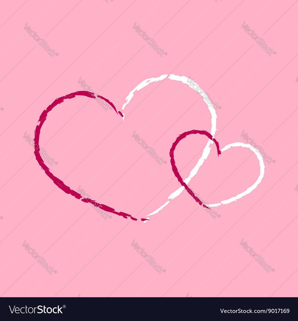 Hearts icon double grunge 1 vector image