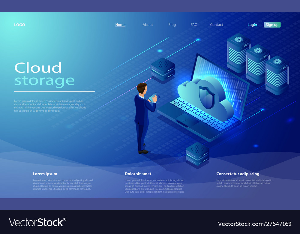 Isometric cloud hosting network vector