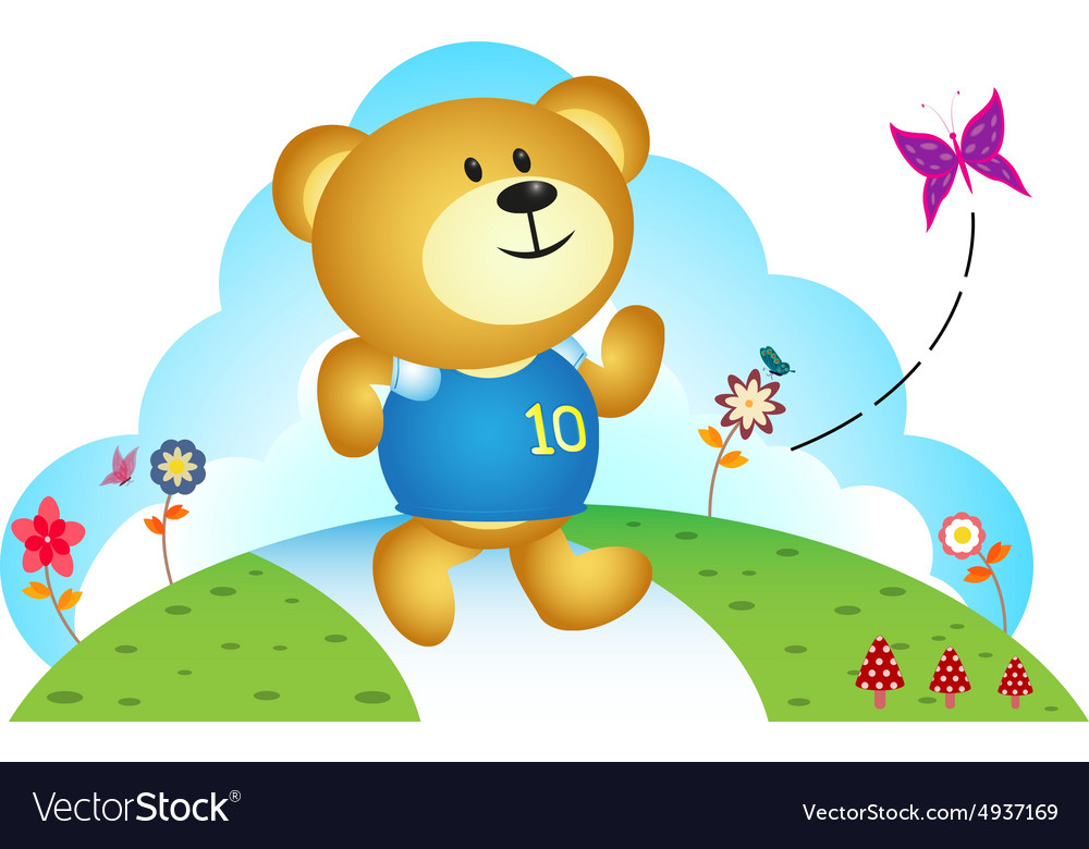 Little bear chasing butterfly vector image