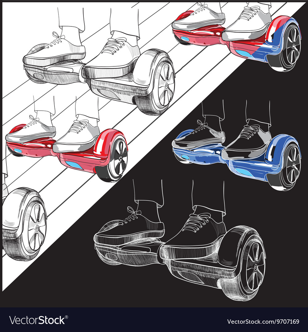 Set Hoverboard Two-wheeled motorized personal vector image
