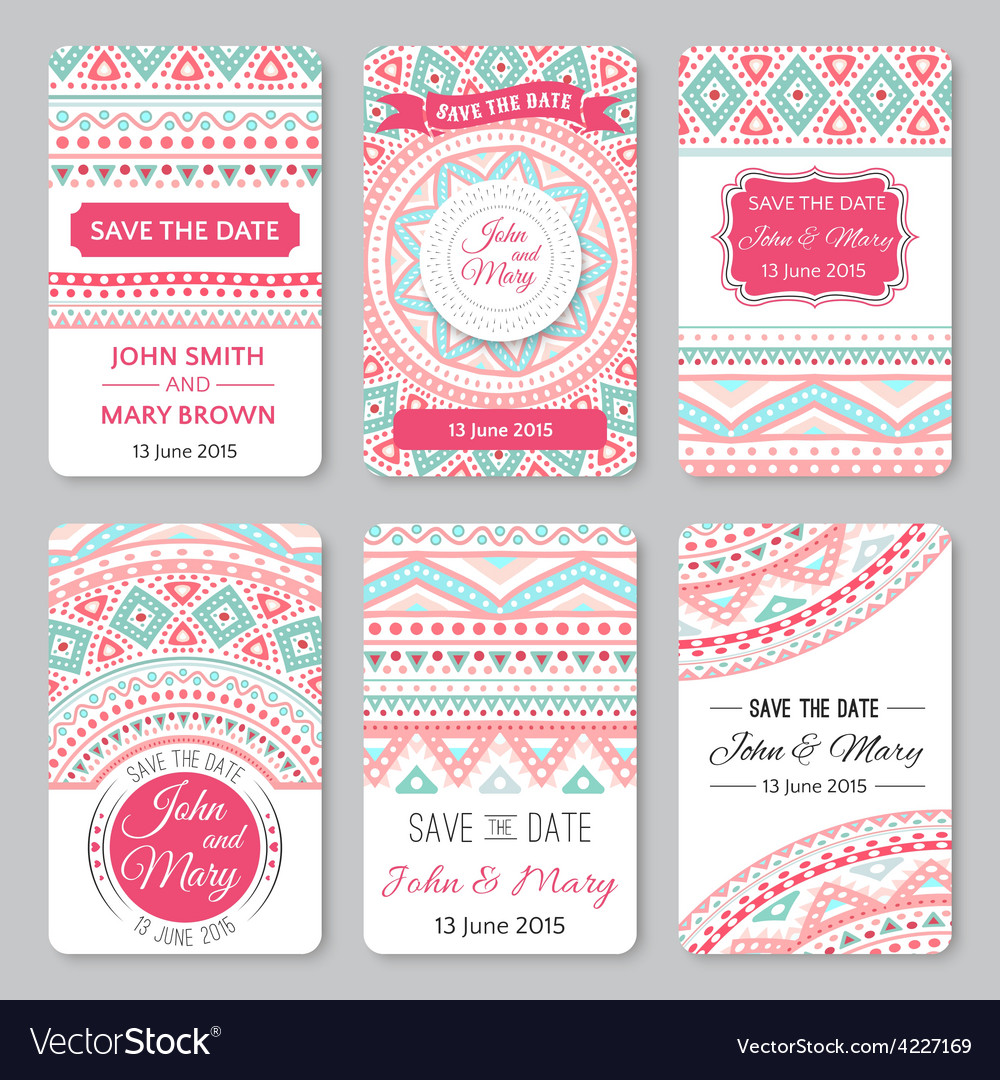Set of perfect wedding templates with doodles