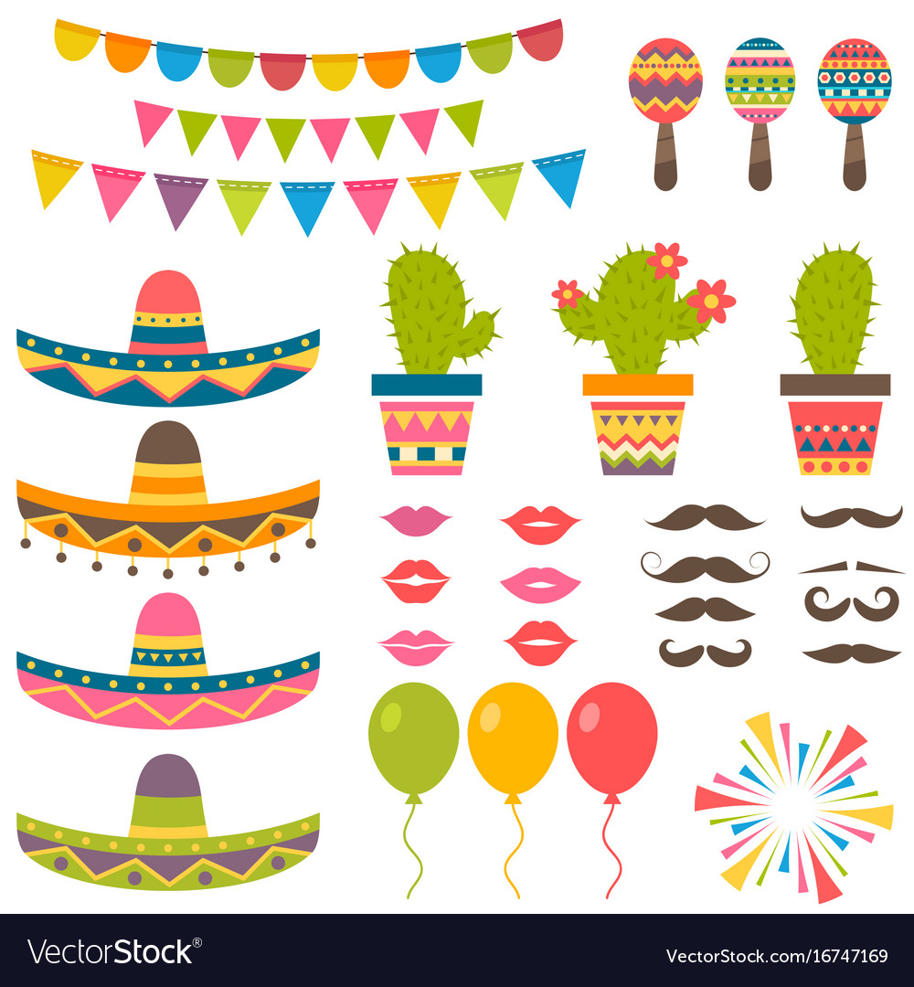 Set with traditional mexican symbols for festival vector image