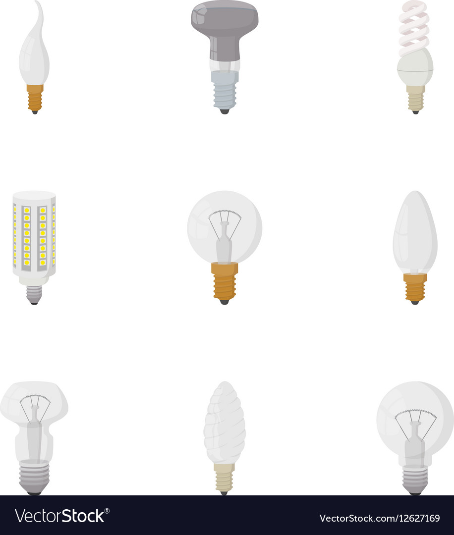 Types of lamps icons set cartoon style vector image