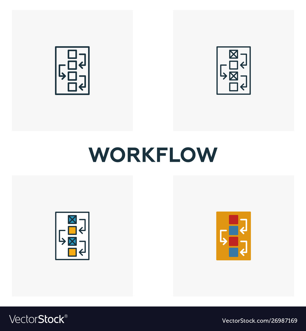 Workflow icon set four elements in diferent