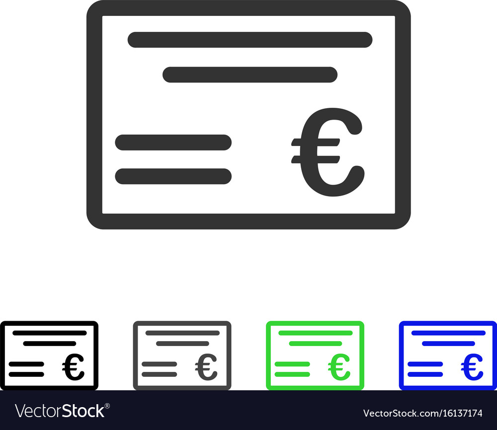 Euro cheque flat icon vector image