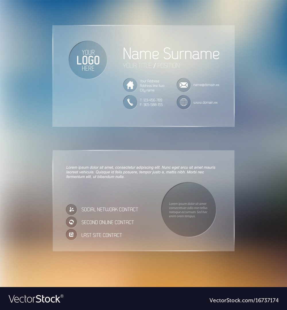 Modern transparent business card template vector image flashek Choice Image
