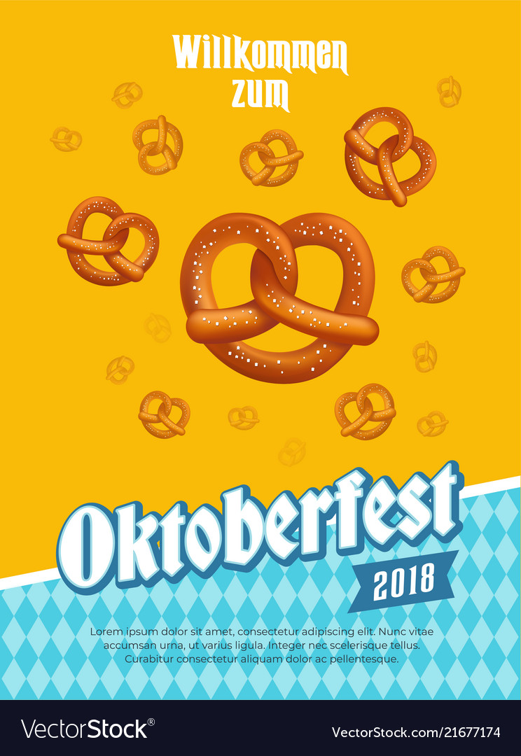 Oktoberfest poster with pretzels and traditional