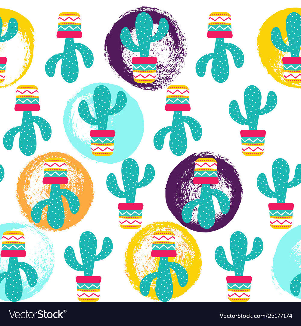 Seamless pattern cactuses succulents with nice